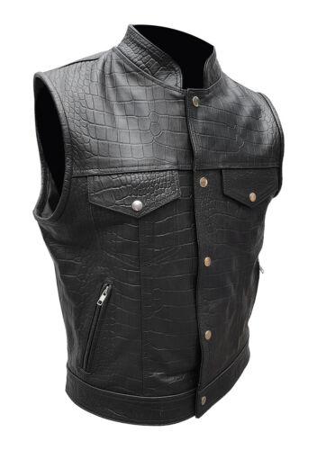 Mens Black Crocodile Print Real Leather Waistcoat Motorcycle Bikers Vest Jacket
