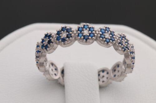 Turkish Handmade Jewelry Sapphire Topaz Rhodium 925 Sterling Silver Band Ring