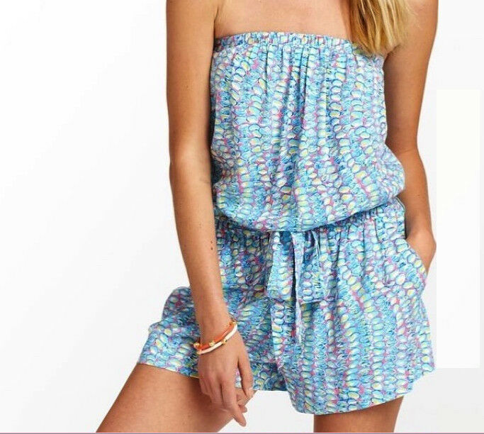 158 Lilly Pulitzer Colleen Multi Clam Jam Strapless Shorts Belted Short Romper