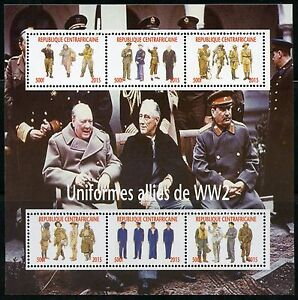 CENTRAL AFRICA 2016 WW II ALLIED UNIFORMS SHEET CHURCHILL FDR STALIN MINT