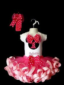 1st 2nd 3rd Minnie Mouse Birthday Outfit Top Ribbon Trim Tutu