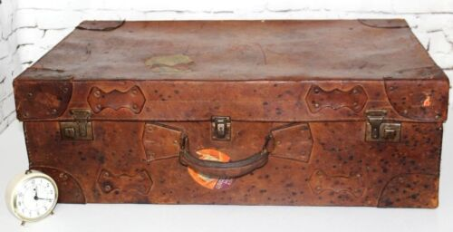 1920s English Leather Suitcase Travel Trunk FREE Shipping PL4213