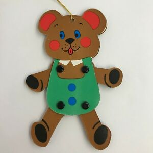 Vintage-Made-in-Japan-Christmas-Ornament-Jointed-Flat-Cardboard-Teddy-Bear
