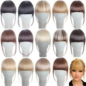 New-Fashion-Women-Remy-Human-Hair-Neat-Air-Bangs-Clip-In-Fringe-Front-Hairpiece
