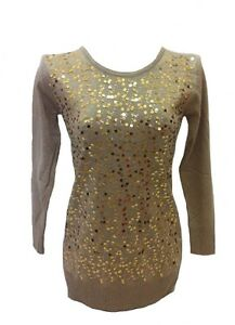 10954862da Image is loading NEW-Stunning-Knit-Sequin-Brown-Jumper-Sweater-Dress-