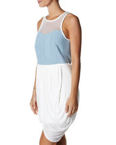PREMONITION-WHITE-amp-CHAMBRAY-DENIM-DRESS-IS-Sz-12-MESH-AT-NECK-CURRENT-STYLE