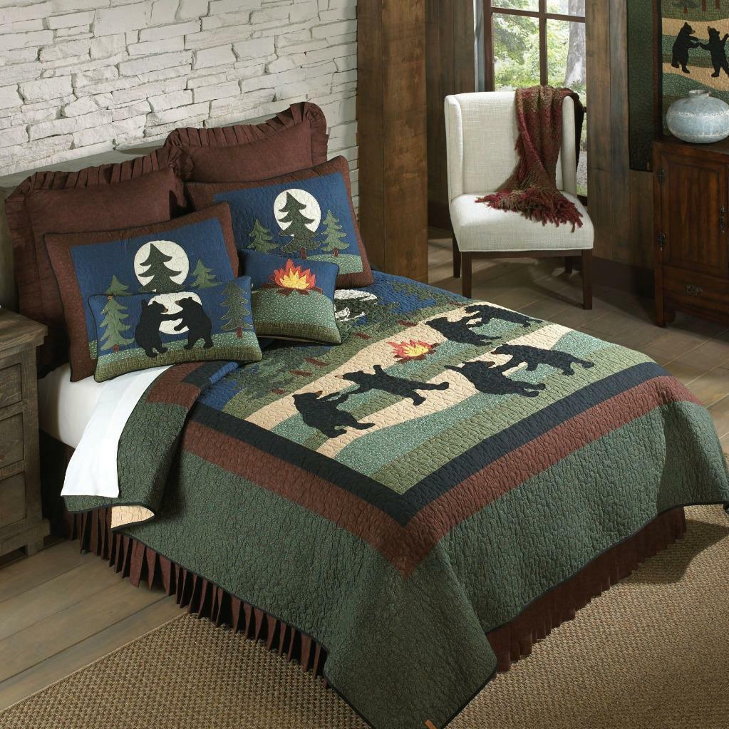 damen Sharp Bear Dance Quilt Rustic Country Lodge  KING  3 Piece Bed Set New