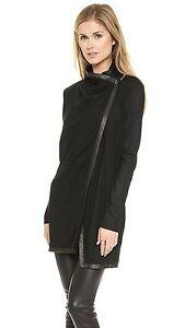 HELMUT LANG 'Sonar' Leather Trim Open Wool Sweater Jacket Cardigan ...