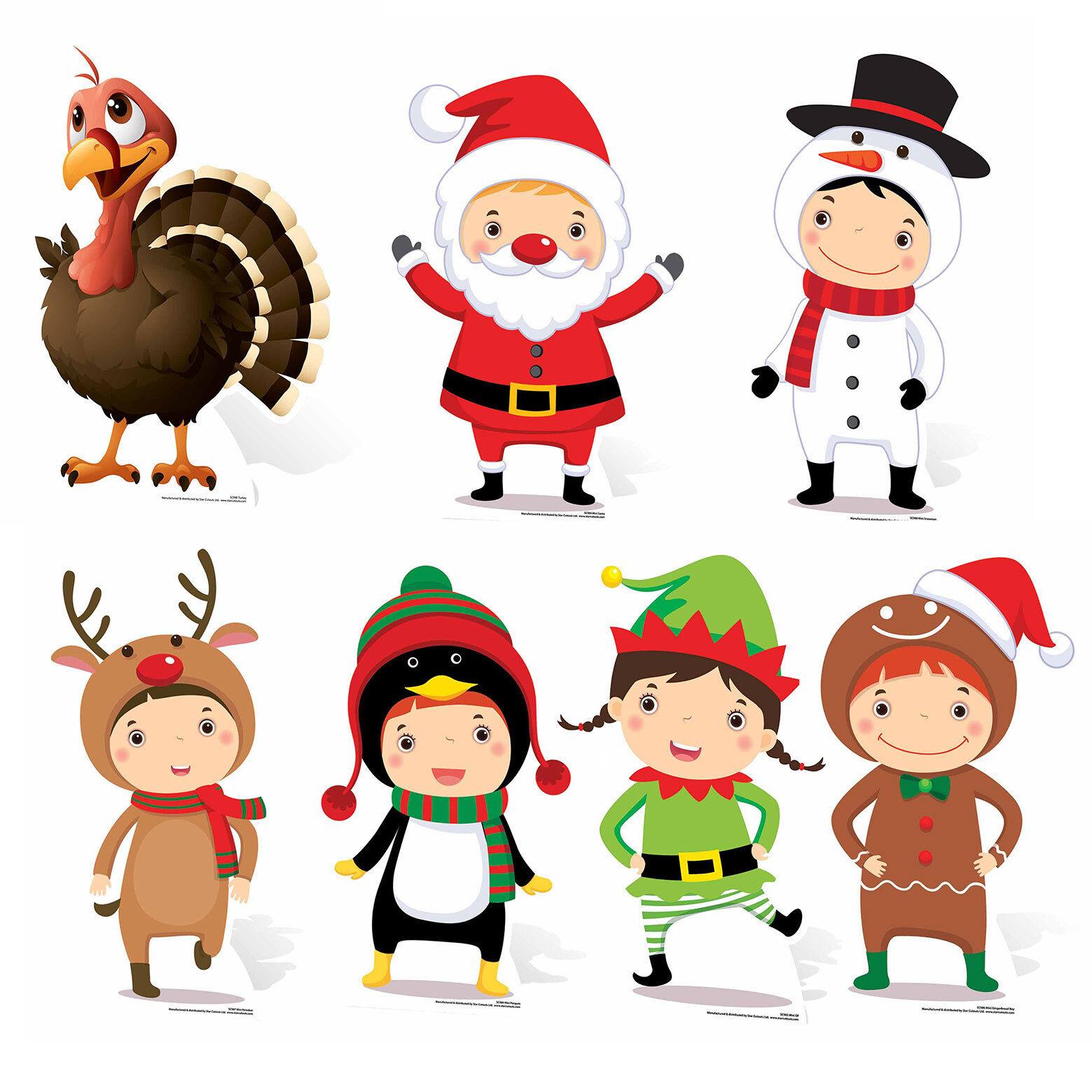 Christmas Themed Mini Cardboard Cutout Collection Set Festive -  7 Cutouts