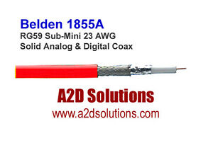1000/' Belden 1855A RG59 Sub-Mini 23 AWG Solid Analog /& Digital Coax BLUE
