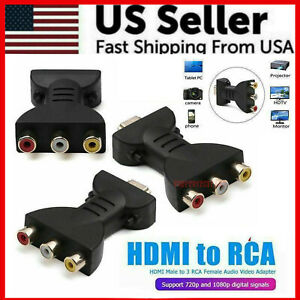 HDMI-Male-to-3-RCA-Female-Composite-AV-Video-Audio-Adapter-Converter-for-TV-PC