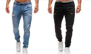 Men's Casual Denim Jogger Pants Sweatpant Elastic Waist Trousers Skinny Fit Jean