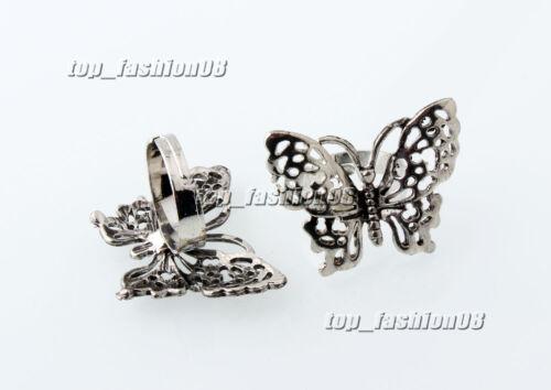 Gros Lots Bijoux 10Pcs Grande Taille Coupe Papillon Plaqué Argent Animal Anneaux