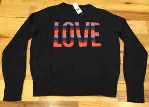 Gap-Women-s-2XL-XX-Large-Sweater-Navy-Blue-Bright-LOVE-Sweater-Nwt