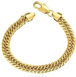 18k-Yellow-Gold-Filled-Cuban-Curb-Bracelet-7-8-034-ITALIAN-MADE