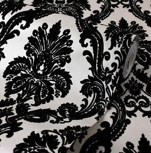 Exclusive casablanca velvet flock black cream damask wallpaper 11007 ebay - Cream flock wallpaper ...