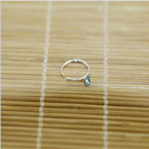 20X Solid Sterling silver Mixed 2MM Crystal Straight Bar Rod Nose Stud Wholesale