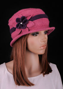 M390 Pink Cute 2-Tone Flower Acrylic Wool Women s Winter Bucket Hat ... 3c2f5ba9692d