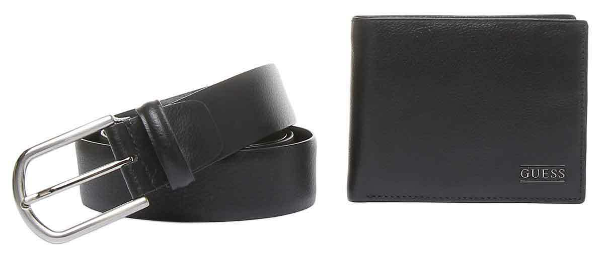 Guess Leather Belts And Wallet Gift In Black