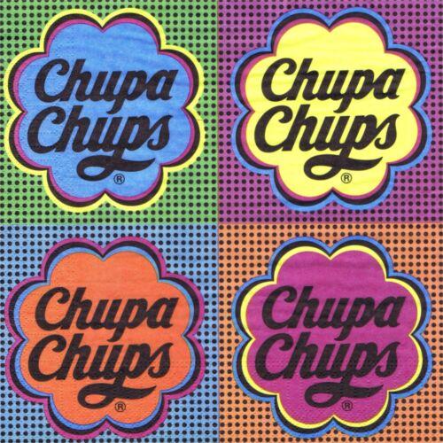 SERVIETTES EN PAPIER CHUPA CHUPS GEANTES SUCETTES VINTAGE.PAPER NAPKINS CHUPA C.