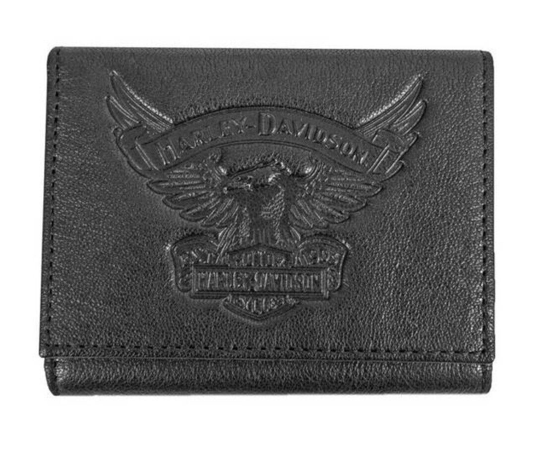 Harley Davidson Mens Eagle Emboss Leather Tri-Fold Wallet Black EE9052L-BLACK