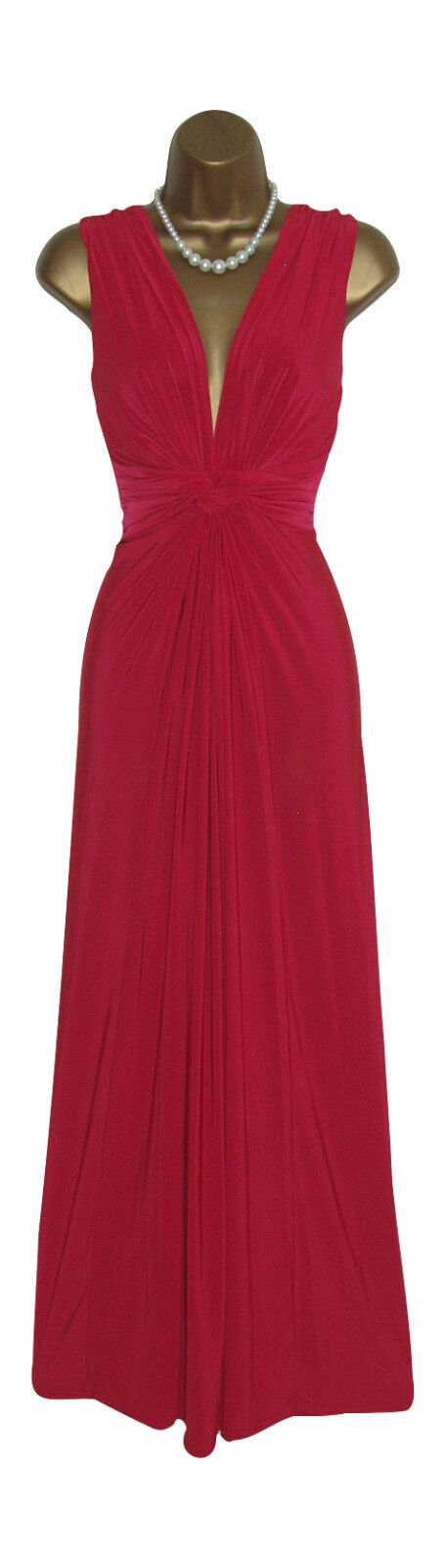 Long Red Grecian Knot Panel Maxi Evening Party Dress Size 10-26 Prom-Ball Gown
