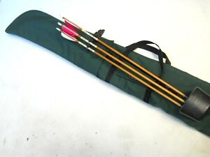 """Traditional Archery CASE for UNSTRUNG RECURVE BOW w/ bolt-on quiver Green  66"""""""