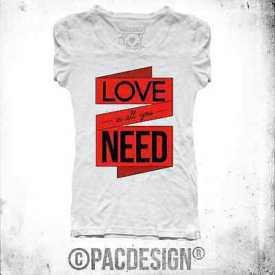 T-SHIRT DONNA YOU NEED LOVE VINTAGE HIPSTER CHIC VINTAGE HAPPINESS SZ0024A