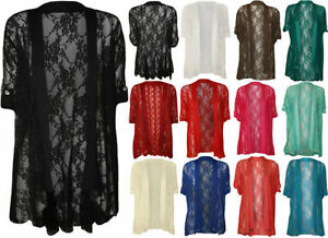 New-Womens-Plus-Size-Ladies-Lace-Button-Open-Cardigan-Short-Sleeve-14-28
