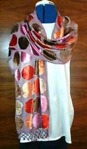Velvet-devore-burnout-velvet-shawl-Coloured-circles-on-taupe-Beaded-fringe-NEW