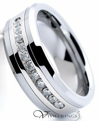 Mens Tungsten Carbide Ring Channel CZ Wedding Band  Ring 8mm Size 7.5 to 14.5