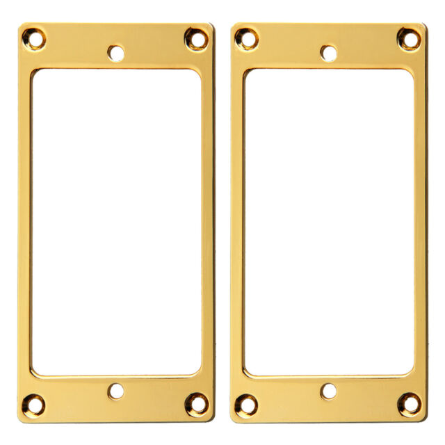 2 Pcs Flat Metal Guitar Humbucker Pickup Mounting Ring Gold