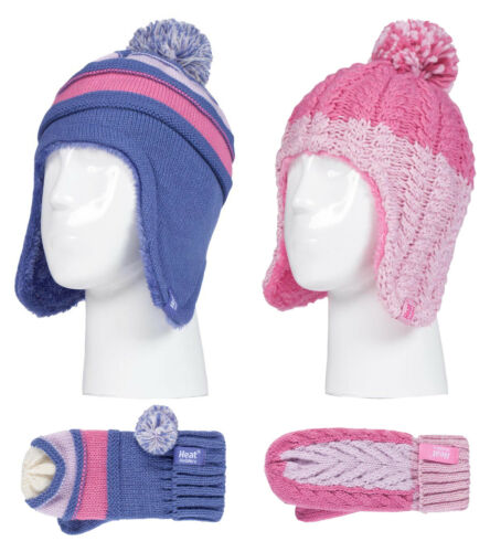 Kids Girls Knit Thermal Bobble Hat and Mittens Set with Ear Flaps Heat Holders