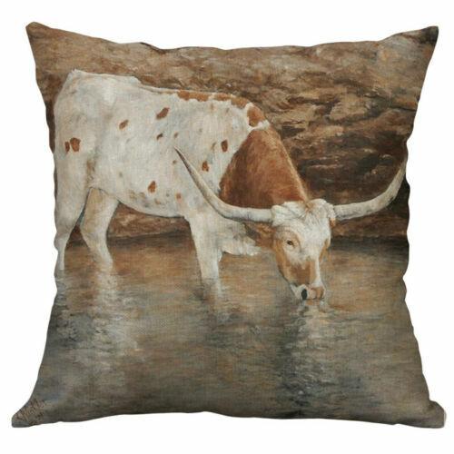 """Cow Linen Décor Pillow Case Animal sheep Cover Home Cushion 18/"""" Cotton Printing"""