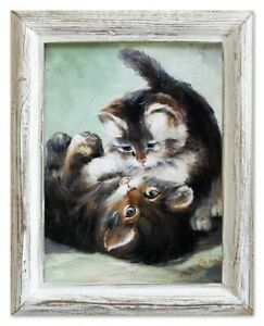 Oil-Painting-Pictures-Hand-Painted-with-Frame-Baroque-Cats-03557