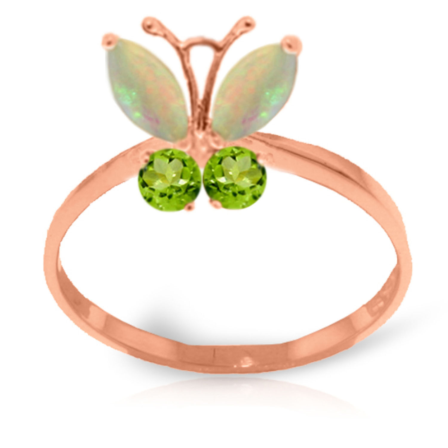 Brand New 0.7 CTW 14K Solid pink gold Butterfly Ring Opal Peridot
