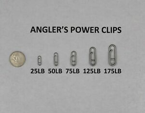 Anglers-Power-Clips-25LB-50LB-75LB-125LB-175LB-Bulk-Packs-25-50-100-USA