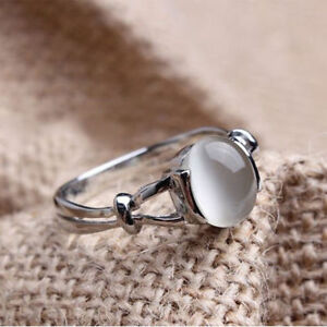 Sale Silver Plated White Gold Plated Bright Moonstone Womens