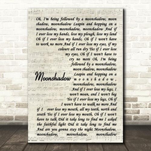 Moonshadow Vintage Script Song Lyric Print