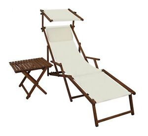 Chaise Longue Blanc Toit Ouvrant Table Transat pour Jardin Bois Lit ...