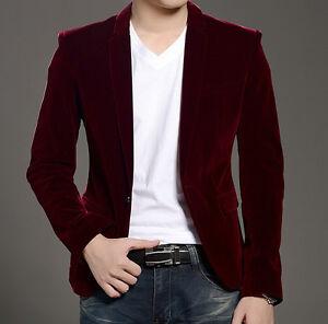 eefa8335b7d Details about Korean Men Smart Casual Slim Fit One Button Velvet Suit  Blazer Coat Jacket Vogue