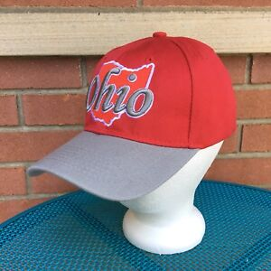 Details About Ohio State Baseball Hat Cap Scarlet Gray Adjustable Embroidered Red White