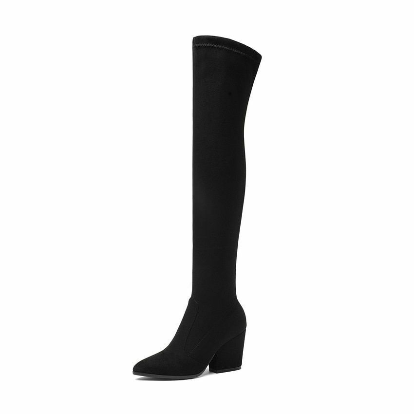 Over The Knee High Boots Hoof Heels Winter shoes Pointed Pointed Pointed Toe Elastic Fabric 847853
