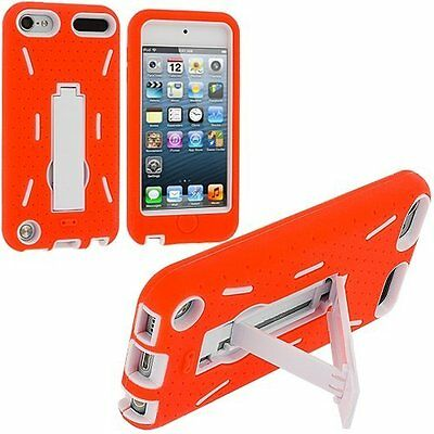 iPod Touch 5 5th gen IMPACT Hard Rubber Case Phone Cover Kick Stand Red Black