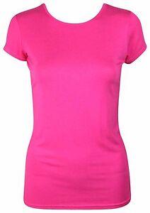 Womens-Ladies-Stretchy-Plain-Round-Scoop-Neck-Cap-Sleeve-VISCOSE-Top-T-Shirt