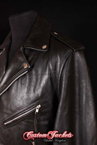 Men/'s BRANDO TASSELED Black Motorcycle Motorbike CRUISER Hide Leather Jacket MBF