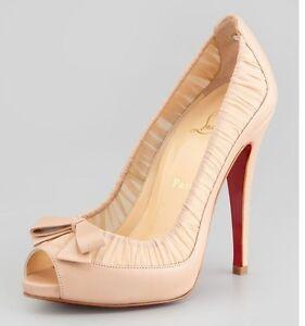 Christian-Louboutin-ANGELIQUE-Leather-Chiffon-Open-Toe-Bow-Heel-Pumps-Shoes-895