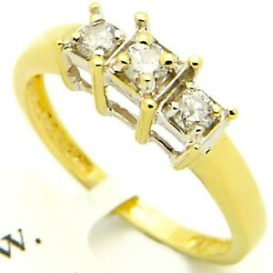 0 30ct Diamond Engagement Ring 3 Stone Princess Basket Setting I Si 2 14k Gold Ebay