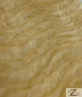 "SOLID WAVY ORGANZA FABRIC-GOLD- 58"" SOLD BTY SATIN/TAFFETA/CHARMEUSE"