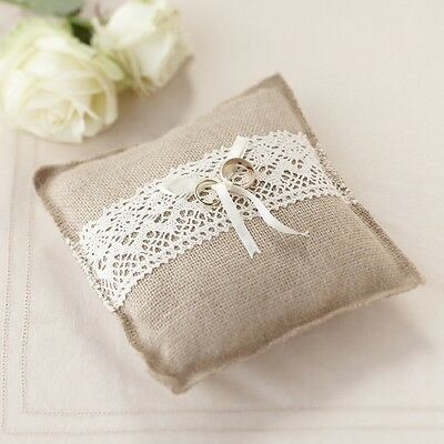 Vintage Style Hessian & Lace Ring Pillow/Cushion
